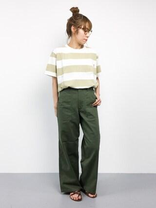 ZOZOTOWN|SUBさんの「USAコットンワイドボーダーTシャツ(coen|コーエン)」を使ったコーディネート