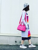 「Prada Canvas Logo Tote with Strap, Pink (Peonia)(Prada)」 using this #まほきち looks