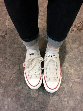 「CONVERSE コンバース CANVAS ALL STAR J OX キャンバスオールスターJ OX 32167710 N.WHITE(CONVERSE)」 using this かなぴこ looks
