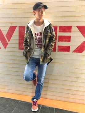 AVIREX  福岡|SONJAE(そんじぇ)さんのキャップ「avirex/ アヴィレックス/ CURVE BB CAP AVIREX LOGO/ カーブ ベースボールキャップ AVIREX ロゴ(AVIREX|アヴィレックス)」を使ったコーディネート