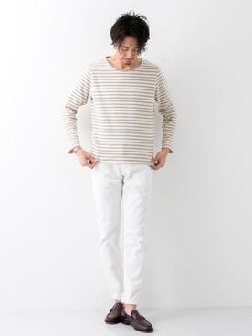 URBAN RESEARCH|JuniyaさんのTシャツ/カットソー「ROSSO MEN バスクボーダーTシャツ(URBAN RESEARCH ROSSO MEN|アーバンリサーチ ロッソメン)」を使ったコーディネート