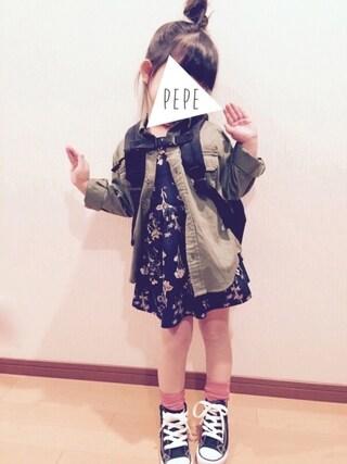 pepeさんの「キッズ converse コンバース (15-21)CHILD ALL STAR N Z HI チャイルド オールスター N Z ハイ 32712041 BLACK(CONVERSE|コンバース)」を使ったコーディネート