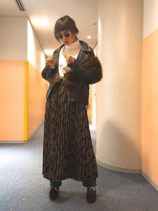宮城舞さんの「アコーディオンプリーツMスカート/742090(BLISS POINT|ブリスポイント)」を使ったコーディネート