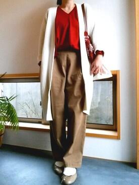 tamさんの「綿ツイル起毛ゆるパンツ【niko and ...】(niko and...)」を使ったコーディネート