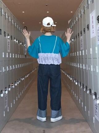 ちょこびさんの「レースキャミ付きフリル袖プルオーバー(w closet|ダブルクローゼット)」を使ったコーディネート