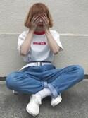 ちょこびさんの「【CHIHIRO YASUDA】 ハッピー野郎Tシャツ(CHIHIRO YASUDA|チヒロ ヤスダ)」を使ったコーディネート