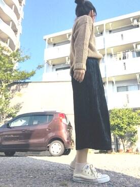 momoさんの「5Gオフタートルネック畦プルオーバー(ikka)」を使ったコーディネート