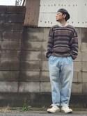 ナガシマ マサルさんの「【WEB限定】メタルフレーム丸メガネ(coen コーエン)」を使ったコーディネート