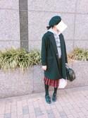 ほしさんの「BEAMS BOY / ウール タータンチェック プリーツスカート(BEAMS BOY ビームスボーイ)」を使ったコーディネート