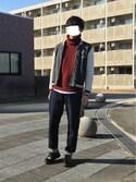 白木 快(おじいちゃん大学生)さんの「デニムソフトテーパーパンツ【niko and ...】(niko and...|ニコアンド)」を使ったコーディネート