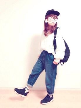 みぃ☆。.:*・゜さんの「【Champion/チャンピオン】刺繍ベースボールCAP/715430(Champion)」を使ったコーディネート