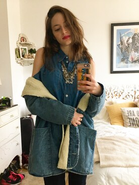 "girlwiththebigeyes is wearing Urban Outfitters ""Urban Renewal Leather-Yoke Western Shirt"""
