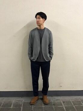 ADAM ET ROPE' 新宿LUMINE2|SAKUMAAさんのノーカラージャケット「ノーカラージャケット(ADAM ET ROPE'|アダム エ ロペ)」を使ったコーディネート