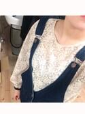 momoka.さんの「総フラワーレースパフスリーブ袖裾シャーリングスパン長袖後ろワンボタンブラウス(select MOCA|セレクトモカ)」を使ったコーディネート