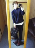 hiroakiさんの「STUDIOUS シャイニーレザークラッチバッグ(STUDIOUS ステュディオス)」を使ったコーディネート