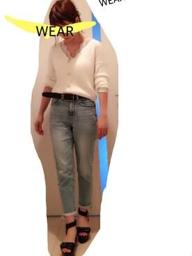 yuさんの「4者混ワイドリブニットオフショルVネックカーディガン(mysty woman|ミスティウーマン)」を使ったコーディネート