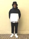 YAMANESYUNICHIさんの「COLORBLOCK HOODED SWEAT(XLARGE|エクストララージ)」を使ったコーディネート