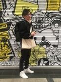 Ryo-taさんの「(GU)ボリュームタートルセーター(長袖)A OFF WHITE XL(GU|ジーユー)」を使ったコーディネート