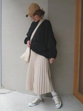 corners yuminyさんのスカート「フェイクスエードプリーツロングスカート(CORNERS コーナーズ)」を使ったコーディネート