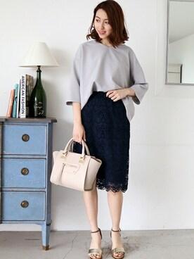 N. Natural Beauty Basic* OFFICE|SIKAさんのスカート「フラワーレーススカート(N.(N. Natural Beauty Basic)|エヌ(エヌ ナチュラルビューティーベーシック) )」を使ったコーディネート