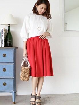N. Natural Beauty Basic* OFFICE|SIKAさんのTシャツ/カットソー「ポンチボリュームスリーブカットソー(N.(N. Natural Beauty Basic)|エヌ(エヌ ナチュラルビューティーベーシック) )」を使ったコーディネート