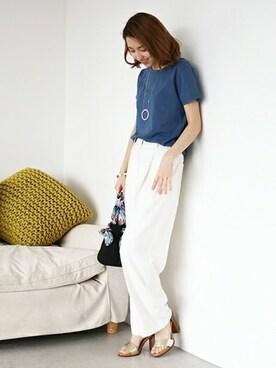 N. Natural Beauty Basic* OFFICE|SIKAさんのTシャツ/カットソー「Basic Tシャツ(N.(N. Natural Beauty Basic)|エヌ(エヌ ナチュラルビューティーベーシック) )」を使ったコーディネート