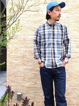 SHIPS 有楽町店|飯沼さんのシャツ/ブラウス「SA: マドラスチェック ボタンダウン シャツ(SHIPS|シップス)」を使ったコーディネート
