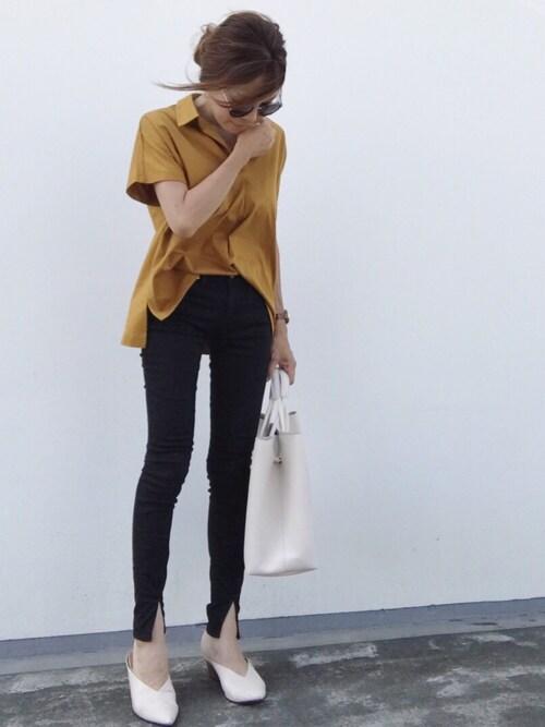 riiiii_yuparipaさんの「オーバーサイズスキッパーポロシャツ(半袖)(UNIQLO)」を使ったコーディネート