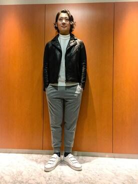 ブルーレーベル/ブラックレーベル・クレストブリッジZOZOTOWN店|HisayukiOguriさんの「レザー ダブルバイカーズ(BLACK LABEL CRESTBRIDGE)」を使ったコーディネート