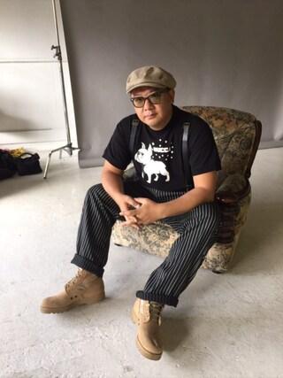 木下隆行さんの「【BUCCA 44】ドッグプリントショートスリーブTシャツ(BUCCA 44|ブッカフォーティーフォー)」を使ったコーディネート