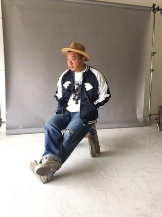 木下隆行さんの「【BUCCA44】白熊刺繍スカジャン(BUCCA 44|ブッカフォーティーフォー)」を使ったコーディネート