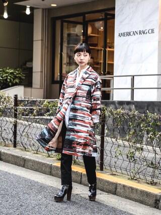 "kodona|仲西さほみさんの「"" Sov. "" Graphic Long Jacket/Coat ¥15500+tax【着用画像あり】(Sov.(DOUBLE  STANDARD  CLOTHING)|ソブ)」を使ったコーディネート"