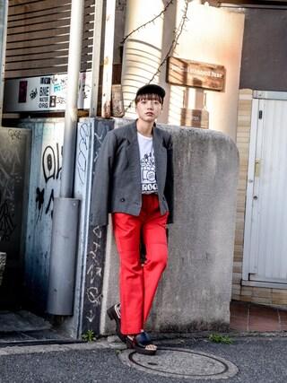 "kodona|仲西さほみさんの「"" ISSEY MIYAKE "" Tailored Short Jacket (size - M) ¥10500+tax【着画あり】(ISSEY MIYAKE|イッセイミヤケ)」を使ったコーディネート"