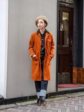 kodona|仲西さほみさんの「FACETASM - Switching Design Soutiencollar Coat ¥18500+tax(FACETASM)」を使ったコーディネート