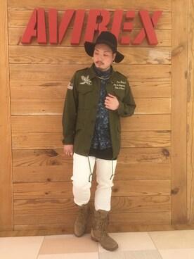 AVIREX  川崎|やすさんのシャツ/ブラウス「avirex/アヴィレックス/ TYPE BLUE 長袖総柄デニムシャツ/L/S ALL OVER PRINT DENIM SHIRT(AVIREX|アヴィレックス)」を使ったコーディネート