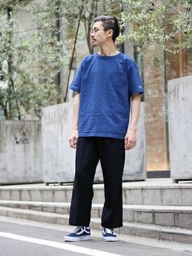 EDIFICE TOKYO 渋谷店|KENTAさんのTシャツ/カットソー「◇CHAMPION / チャンピオン USA ポケットTシャツ(Champion|チャンピオン)」を使ったコーディネート