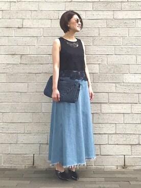 mayu.tさんの「リメイクデニムスカート(TODAYFUL|トゥデイフル)」を使ったコーディネート