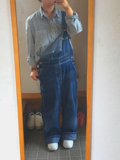 ろいどさんの「MEN エクストラファインコットンブロードストライプシャツ(長袖)(ユニクロ)」を使ったコーディネート
