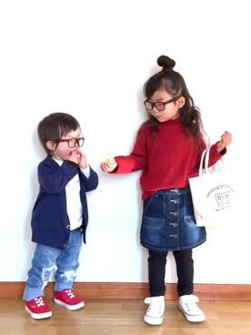 ai☆kaaさんの「シンプルハイネックTシャツ(BRANSHES ブランシェス)」を使ったコーディネート