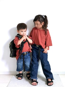 ai☆kaaさんの「キッズ【吸水速乾】ビックT半袖/746080(GLOBAL WORK|グローバルワーク)」を使ったコーディネート