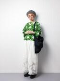ひいこさんの「綿リネンキャンバスカットワーク タックワイドパンツ(Dot&Stripes CHILD WOMAN|ドットアンドストライプス チャイルドウーマン)」を使ったコーディネート