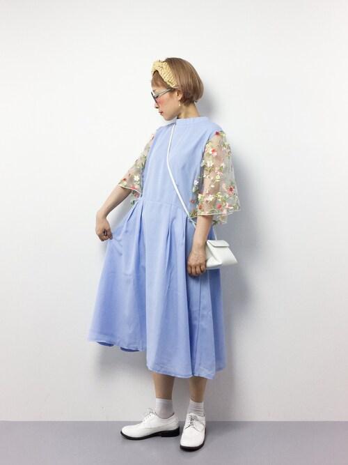 ひいこさんの「花刺繍レーススリーブワンピース5949(merlot plus)」を使ったコーディネート