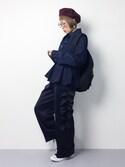 ひいこさんの「ぺプラムデニムジャケット(LE CIEL BLEU|ルシェルブルー)」を使ったコーディネート
