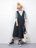 ひいこさんの「タックプリーツジャンパースカート9192(merlot|メルロー)」を使ったコーディネート