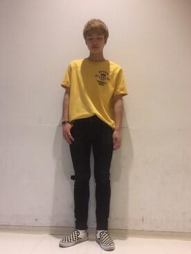 AVIREX ららぽーと横浜|yutaro onoさんのTシャツ/カットソー「avirex/アヴィレックス/メンズ/S/S VARSITY T-SHIRT/半袖 バーシティー Tシャツ(AVIREX|アヴィレックス)」を使ったコーディネート