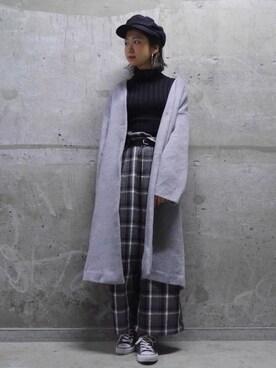 mika muraoさんの「チェック起毛ワイドパンツ(WHO'S WHO gallery)」を使ったコーディネート