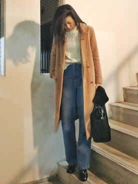 Shakin.さんの「WOOL-BLEND DOUBLE BREASTED CT(MOUSSY|マウジー)」を使ったコーディネート