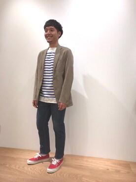 Bshop 神戸本店|吹田さんのテーラードジャケット「【MORRIS&SONS】3Bシャツジャケット MEN(Bshop|ビショップ)」を使ったコーディネート