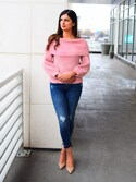 「Pink Tie Sleeve Bardot Sweater(Missguided)」 using this Ayesha Sid looks