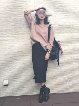 kirinさんの「WOMEN メリノブレンドリブスカート(ユニクロ)」を使ったコーディネート